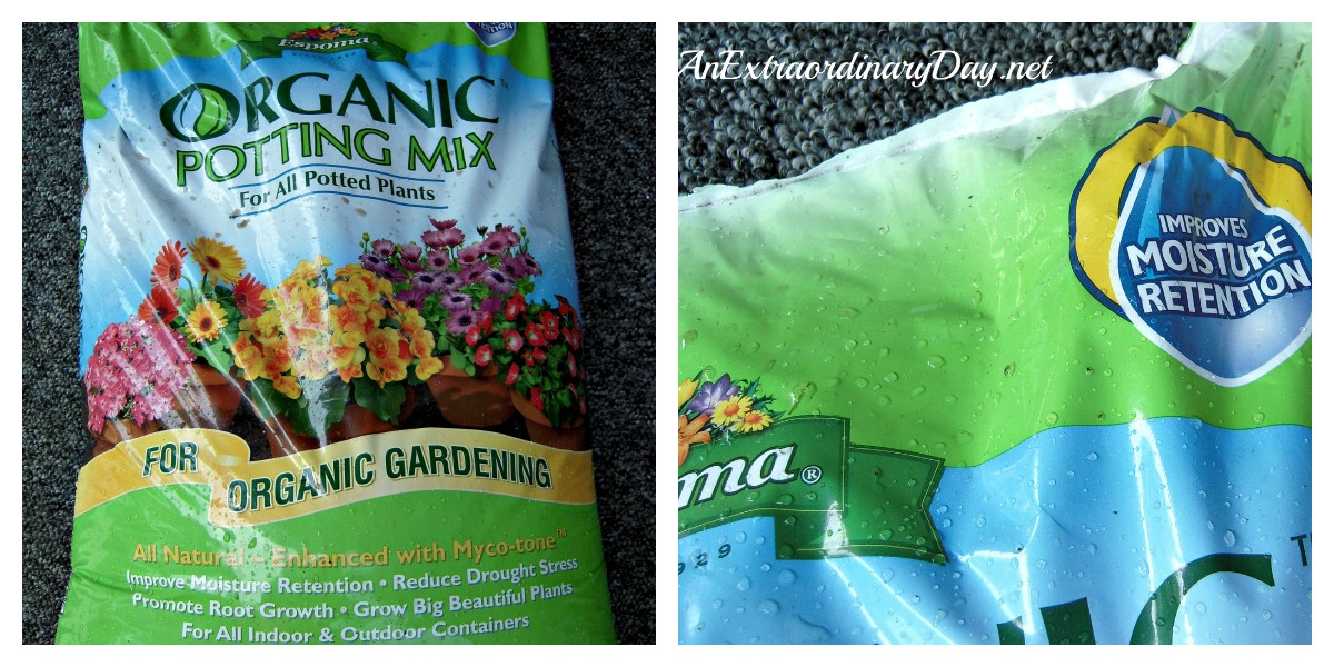 Do not choose a bag of garden soil. Select a high quality organic potting mix for your container garden.