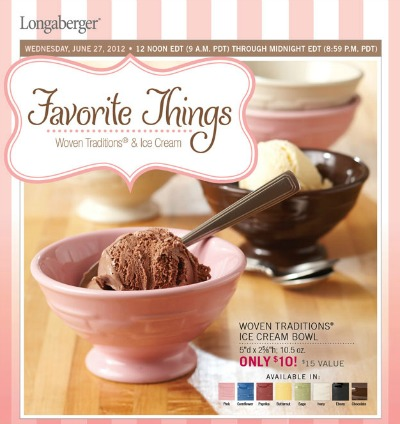 Longaberger Lifestyle - One DAY SALE - July 27 - Noon to Midnight EDT - Woven Tradition Ice Cream Bowls