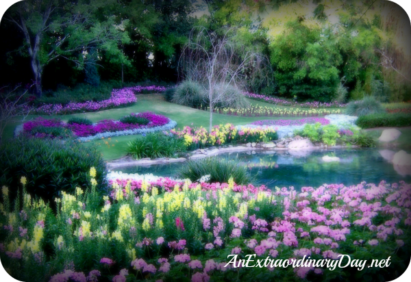An Extraordinary Day | Friendship | Love one another | Pink & Yellow at Floral Display at Epcot in W.  Disney World
