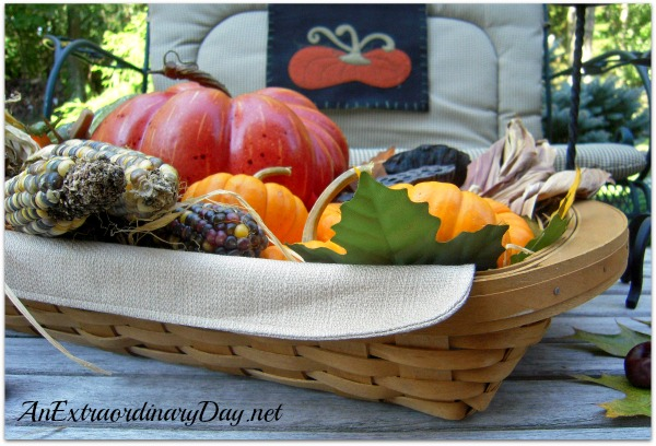 AnExtraordinaryDay.net | Longaberger Serving Tray filled with Fall Fabulousness | Outdoor Fall Decor