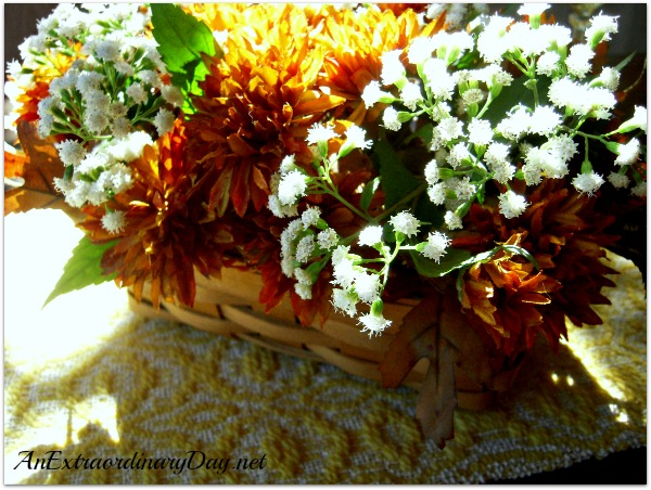 Simple Fall Luncheon | Mums & Eupatorium Floral Arrangement in Longaberger Basket | AnExtraordinaryDay.net