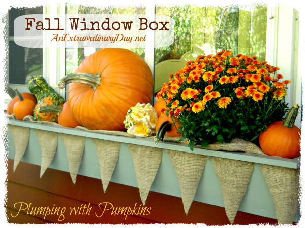AnExtraordinaryDay.net {Day 12}  31 Extraordinary Days  {Window Box Plumping with Pumpkins}  Decorated with Pennants