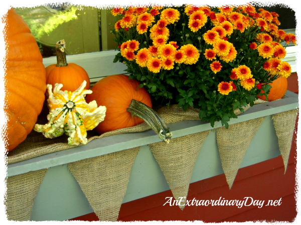 AnExtraordinaryDay.net {Day 12}  31 Extraordinary Days  {Window Box Plumping with Pumpkins} Mums & Pendants