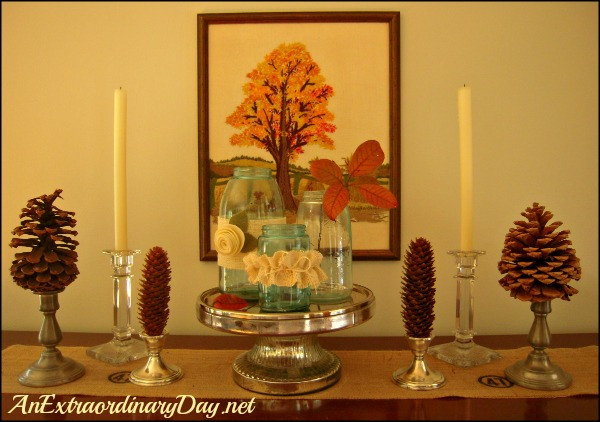 AnExtraordinaryDay.net - Day 9 {31 Extraordinary Days} Fall Fluffing with Pinecones & Mason Jars