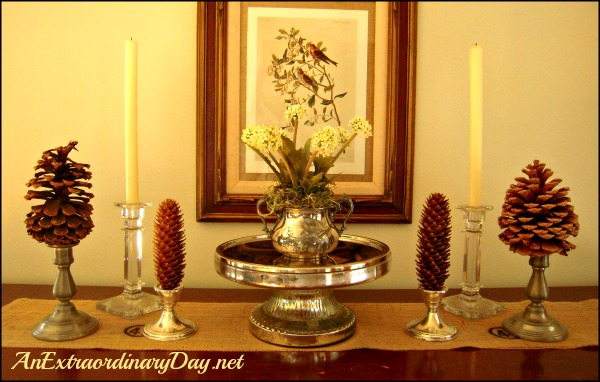 AnExtraordinaryDay.net |  Day 9 {31 Extraordinary Days} Fall Fluffing Pinecones in the candlesticks