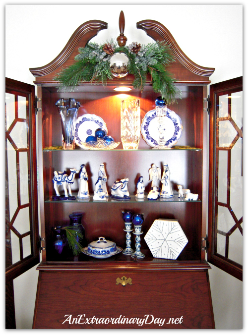AnExtraordinaryDay.net | Dressing up the Secretary in Blue & White for Christmas | Christmas Decor ideas | crystal & china