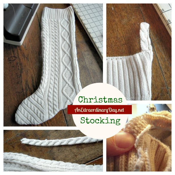 DIY Christmas Sweater Stocking from a thrifted sweater