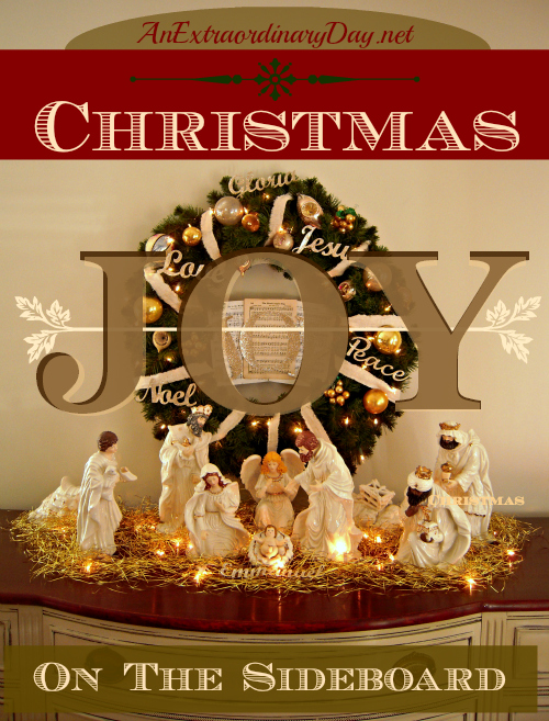 AnExtraordinaryDay.net - Christmas Decorating Inspiration - Nativity Vignette - Decorating with wreaths and nativities
