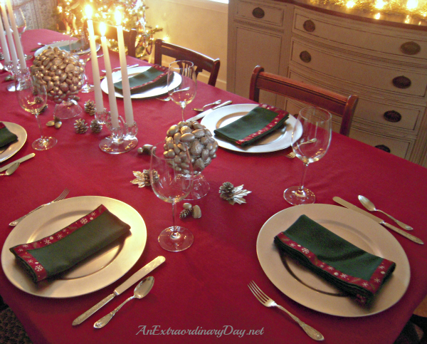 AnExtraordinaryDay.net - Silver Chargers, leaves, pinecones, and nuts - Simple Easy Christmas Tablescaping Inspiration