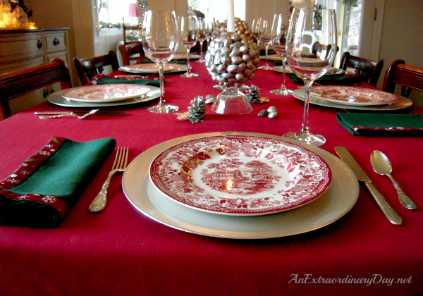 AnExtraordinaryDay.net - Inspiring Ideas for Christmas - Tablescaping with Silver & Red Transferware Dishes