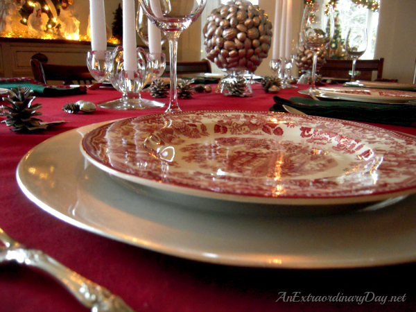 AnExtraordinaryDay.net - Tablescaping with Silver - Royal Staffordshire Clarice Cliff Plates - Simple yet elegant table setting