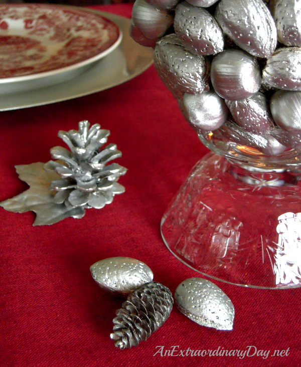 AnExtraordinaryDay.net - Tablescaping with Silver - Silver pinecones and nuts - easy ideas for Christmas table settings