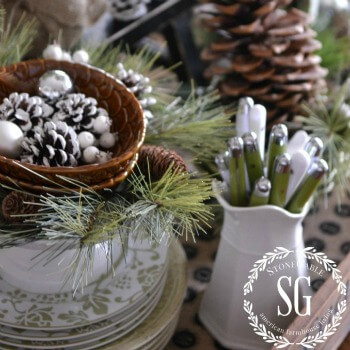 Farmhouse Christmas Vignette  ~  Creating Christmas Memories with Vignettes featuring StoneGableBlog on AnExtraordinaryDay.net