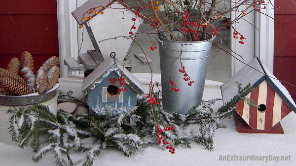 Outdoor Winter Vignette of  birdhouse and evergreens and berries
