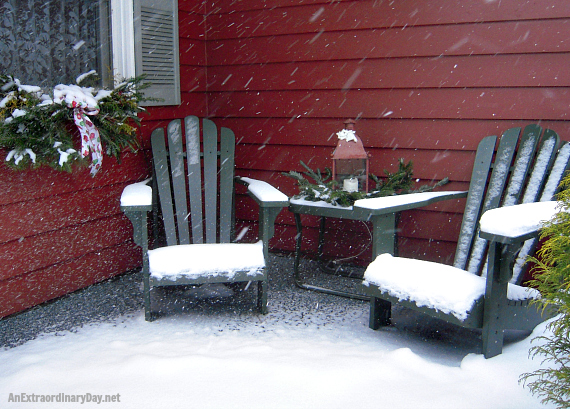 After Christmas Snow blanketing Adirondack Chairs
