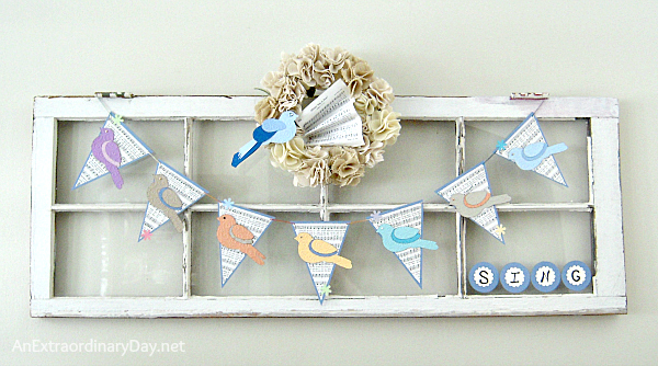 A Vintage Window Dressed up for Spring with a Bird Bunting & Wreath - AnExtraordinaryDay.net
