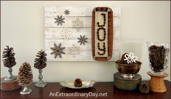 Wintry Rustic Sideboard Vignette - AnExtraordiinaryDay.net