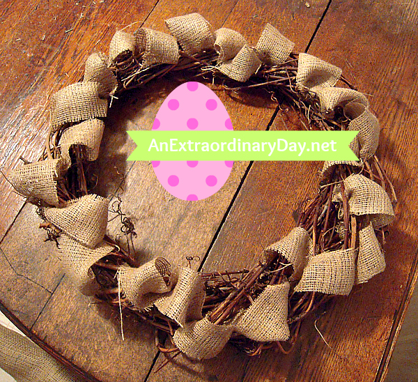 Half-finished Easter Wreath filled with burlap loops :: AnExtraordinaryDay.net