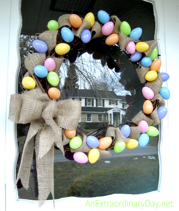 pastel eggs u0026 burlap grapevine easter wreath