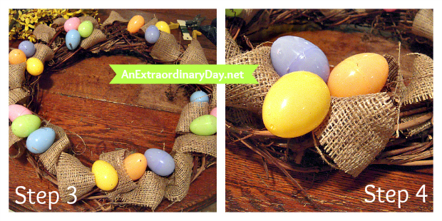 Step 3 & 4 ::  Adding Eggs to Grapevine & Burlap Wreath :: AnExtraordinaryDay.net