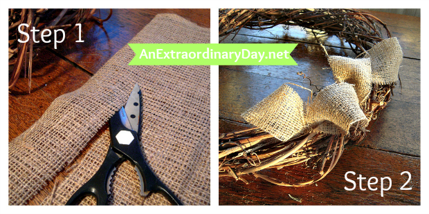 Steps 1 & 2 ::  Cut in strips & create loops of burlap :: AnExtraordinaryDay