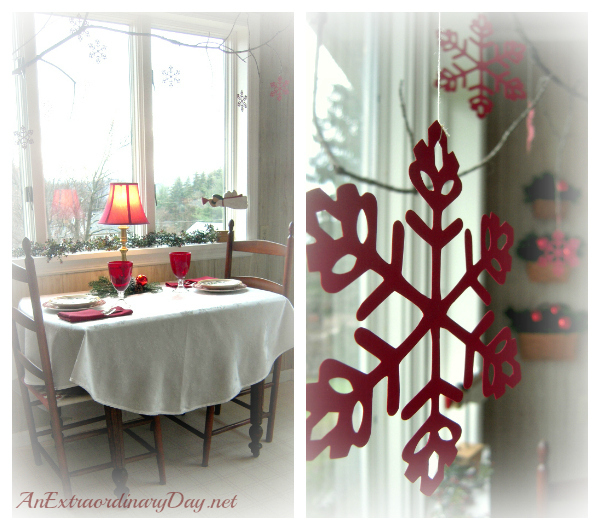 Red Snowflake Christmas Decor :: AnExtraordinaryDay.net