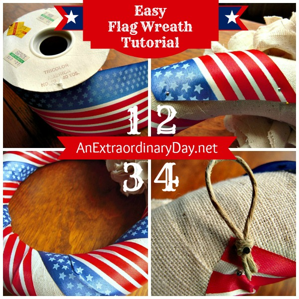 Patriotic Ribbon Flag Wreath :: AnExtraordinaryDay.net