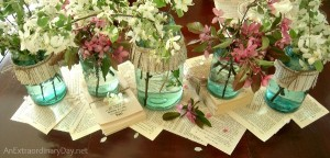 Book Page Centerpiece & Blue Ball Mason Jars :: AnExtraordinaryDay.net