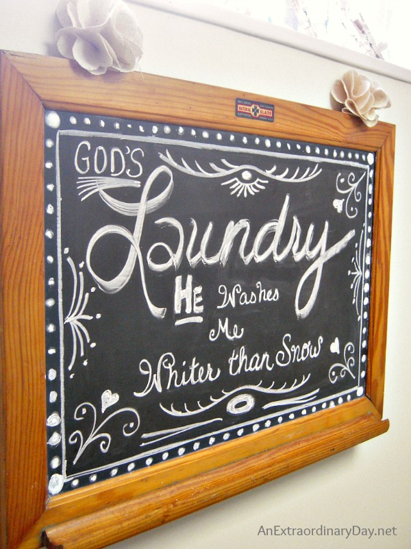 Laundry Room Chalkboard Art :: More on the Makeover - An ...