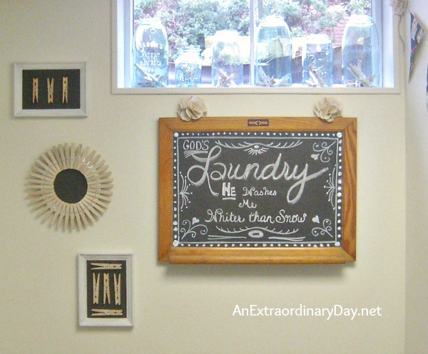 Laundry Room Chalkboard Art :: More on the Makeover :: AnExtraordinaryDay.net