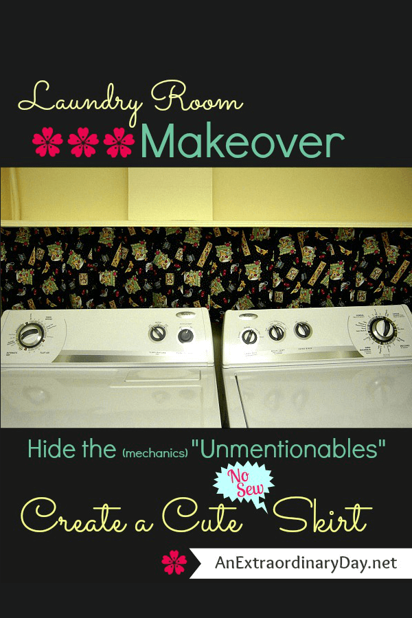 LaundryRoomMakeover :: Hide the mechanics with a cute NO SEW laundry room skirt :: Low cost and a great way to add color or style to your laundry room. Pin for Later!