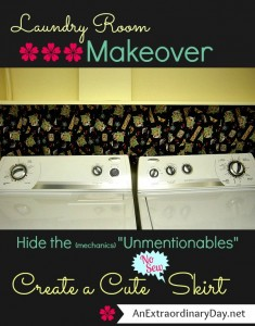 Create a Cute Laundry Room Skirt to Hide the Washer Shut-off & Dryer Vent :: The Makeover Continues!