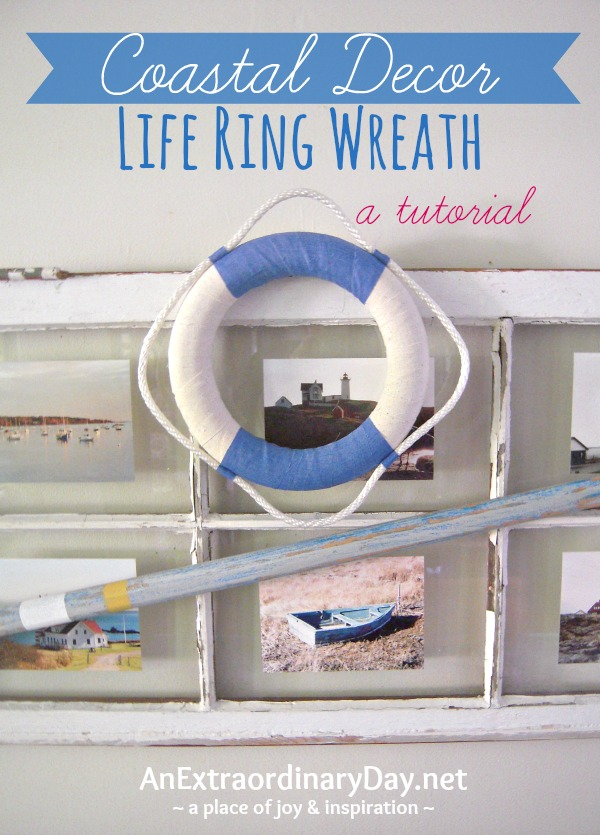 A fun way to bring a coastal vibe to your decor is to create an easy nautical life ring wreath.