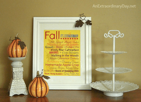Free Fall Subway Style Printable  and Fall Vignette  - Inspired Fall Nesting Ideas from  AnExtraordinaryDay.net