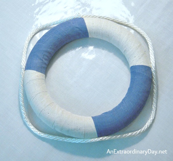 Easy Nautical Life Ring Wreath Tutorial Step 1