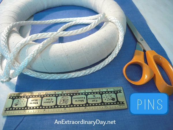 Supplies Needed to make an Easy Nautical Life Ring Wreath - a tutorial :: AnExtraordinaryDay.net