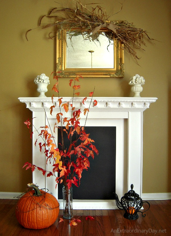 Day 29 - #31Days :: To Be :: Halloween Fireplace Vignette :: AnExtraordinaryDay.net
