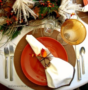 Rust & Brown & Gold Woodland Thanksgiving Tablescape :: AnExtraordinaryDay.net