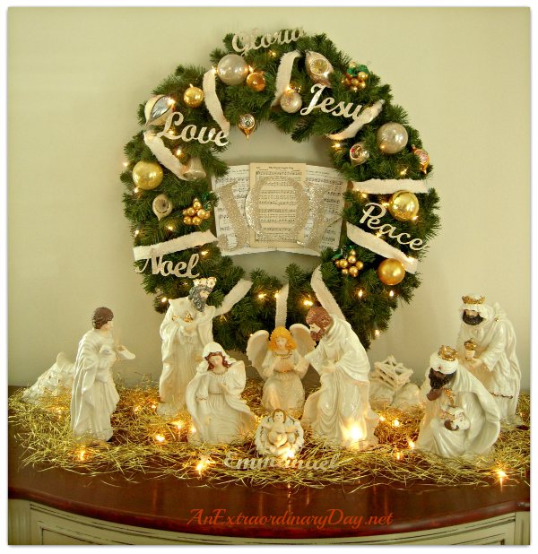 Christmas Joy Wreath and Nativity Vignette for Christmas Decor :: AnExtraordinaryDay.net