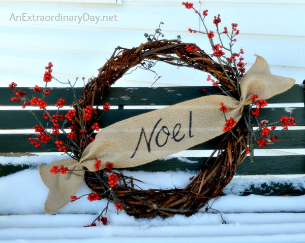 Burlap & Grapevine Noel Wreath :: AnExtraordinaryDay.net
