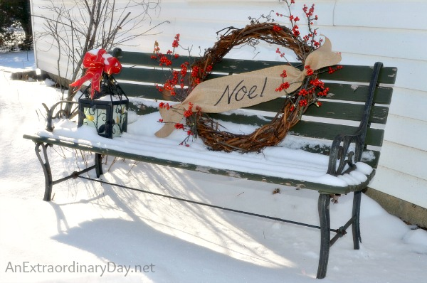 Woodland Wreath :: 12 Days of Christmas :: Grapevine and Winterberry Noel Wreath  :: AnExtraordinaryDay.net