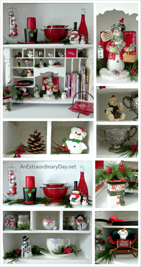 Red and White Kitchen Christmas Vignette :: Collage :: AnExtraordinaryDay.net