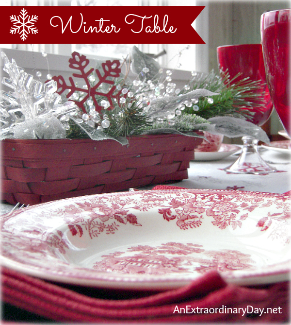 Decorating theTable for Winter with Red and White :: Project Inspire{d} Link Party :: AnExtraordinaryDay.net