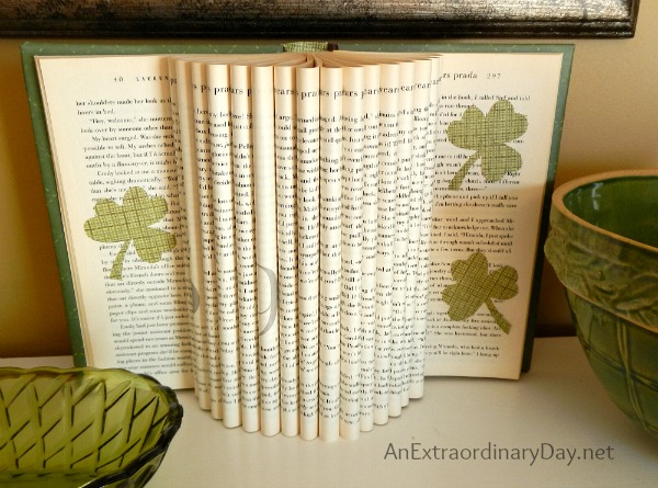 Decorating a Mantel for St. Patrick's Day :: Book Page Art :: Dimensional Book with Shamrocks :: AnExtraordinaryDay.net