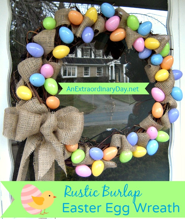 Rustic Burlap Easter Egg Wreath :: Project Inspired Link Party :: AnExtraordinaryDay.net