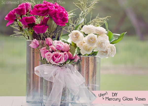 How to Make Faux Mercury Glass Vases by Scattered Thoughts of a Crafty Mom a Project Inspired feature at AnExtraordinaryDay.net