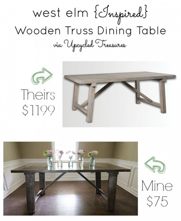 West Elm Wooden Truss Dining Table Knock-off by Upcycled Treasures at Project Inspired Feature at AnExtraordinaryDay.net