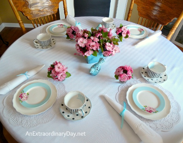 Apple Blossom Tablescape :: Pettit Fours for Tea :: AnExtraordinaryDay.net