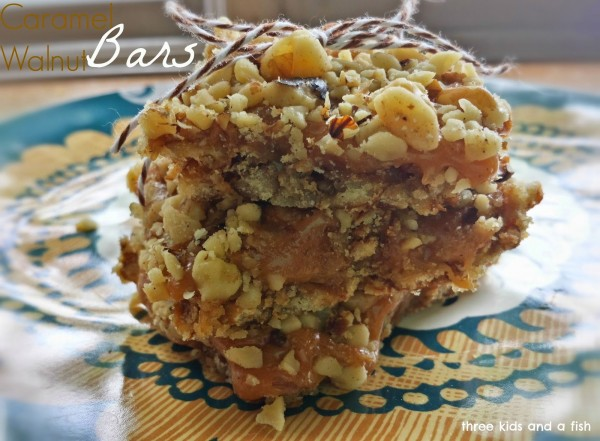 Caramel Walnut Bars by Three Kids and a Fish a Project Inspired feature at AnExtraordinaryDay.net