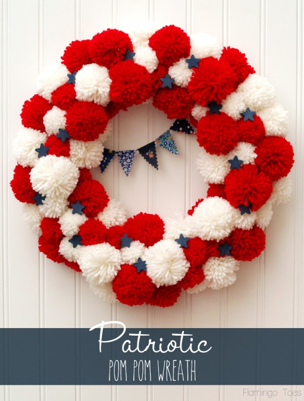 Patriotic Pom Pom Wreath by Flamingo Toes a Project Inspired feature at AnExtraordinaryDay.net